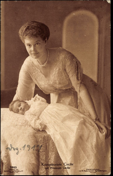Ak Kronprinzessin Cecilie von Preußen mit Prinzessin Cecilie, Liersch 7905 (b/w photo) Wall Art & Canvas Prints by German Photographer