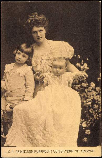 Ak J.K.H. Prinzessin Rupprecht von Bayern mit Familie (b/w photo) Fine Art Print by German Photographer