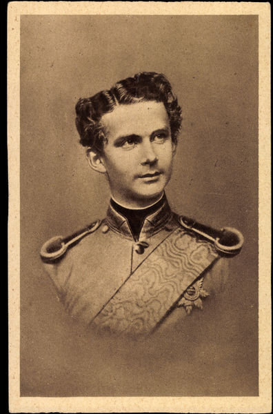 Künstler Ak König Ludwig II. von Bayern Wittelsbach in Uniform (b/w photo) Fine Art Print by German Photographer