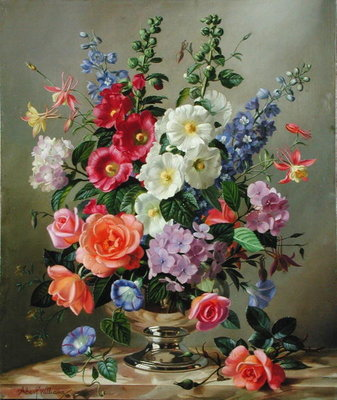 A September Floral Arrangement (oil on canvas) Wall Art & Canvas Prints by Albert Williams