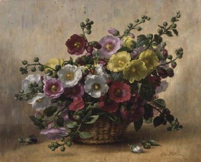 AB230 Hollyhocks in a Basket Fine Art Print by Albert Williams