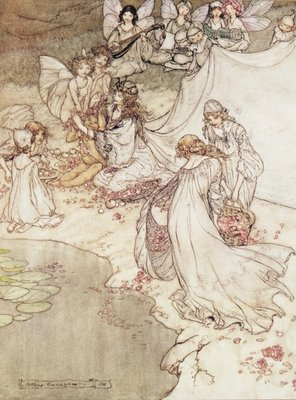 Illustration for a Fairy Tale, Fairy Queen Covering a Child with Blossom Fine Art Print by Arthur Rackham