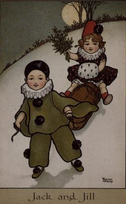 Jack and Jill, Victorian card Fine Art Print by Florence Hardy