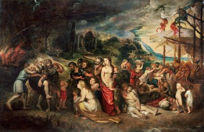 Aeneas prepares to lead the Trojans into exile, c.1602 (oil on canvas) Postcards, Greetings Cards, Art Prints, Canvas, Framed Pictures, T-shirts & Wall Art by Peter Paul Rubens