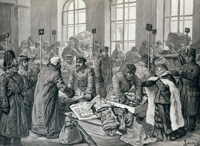 Custom House Officers Examining Passengers' Luggage from Germany, at Wirballen, on the Russian Frontier, from 'The Illustrated London News', 29th January 1887 (engraving) Wall Art & Canvas Prints by English School