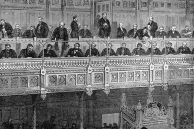 The House of Commons: The Reporters' Gallery, from 'The Illustrated London News', 18th February 1882 (engraving) Wall Art & Canvas Prints by English School