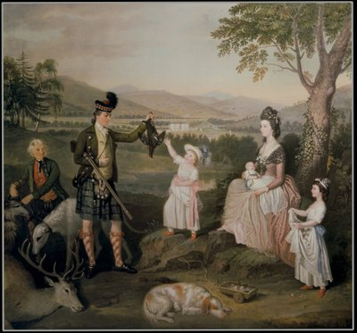 John, the 4th Duke of Atholl and his family, 1780 (oil on canvas) Postcards, Greetings Cards, Art Prints, Canvas, Framed Pictures, T-shirts & Wall Art by David Allan