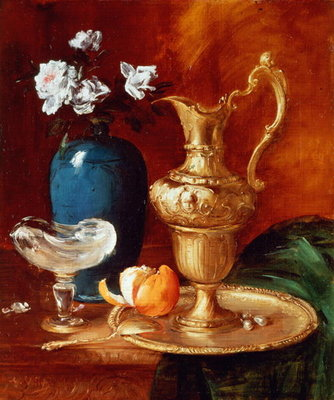 Still life of a gilt ewer, vase of flowers and a facon de Venise bowl Fine Art Print by Antoine Vollon