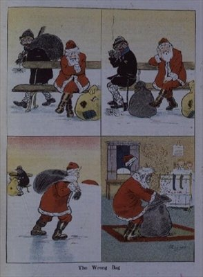 Father Christmas and the wrong bag by G.Christie Wall Art & Canvas Prints by Anonymous