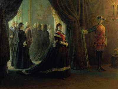 Catherine II (1729-96) at the Coffin of Empress Elizabeth (1709-61), 1874 (oil on canvas) Fine Art Print by Nikolai Nikolajevitch Gay