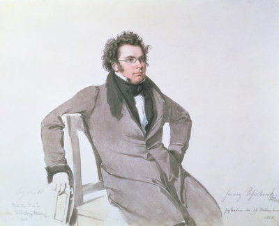 Franz Schubert (1797-1828), 1825 (w/c on paper) Postcards, Greetings Cards, Art Prints, Canvas, Framed Pictures, T-shirts & Wall Art by Wilhelm August Rieder