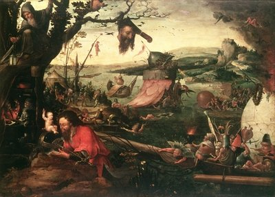 Landscape with the Parable of St Christopher, early 16th century (oil on canvas) Wall Art & Canvas Prints by Jean Mandyn