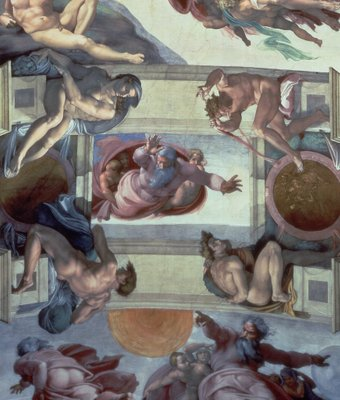 Sistine Chapel Ceiling (1508-12): The Separation of the Waters from the Earth, 1511-12 (fresco) (post restoration) Postcards, Greetings Cards, Art Prints, Canvas, Framed Pictures, T-shirts & Wall Art by Michelangelo Buonarroti