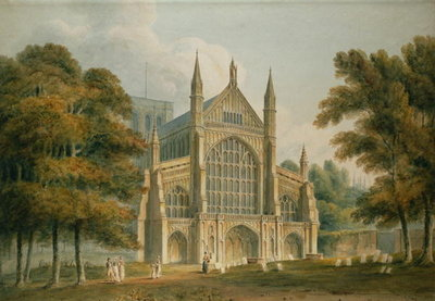Winchester Cathedral: The Facade from the North-West, 1801 (watercolour) Fine Art Print by John Buckler