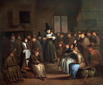 A Quakers Meeting (oil on canvas) Wall Art & Canvas Prints by Egbert van the Elder Heemskerk