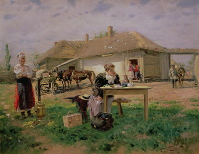 Arrival of a School Mistress in the Countryside, 1897 Poster Art Print by Vladimir Egorovic Makovsky