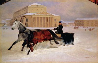 Pole Pair with a Trace Horse at the Bolshoi Theatre in Moscow, 1852 (oil on canvas) Fine Art Print by Nikolai Egorevich Sverchkov