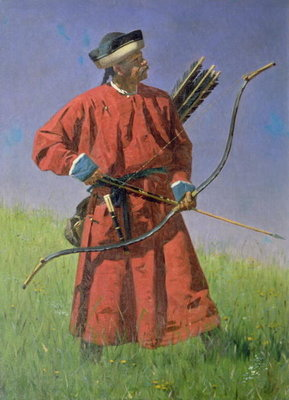 Bokharan Soldier (Sarbaz), 1873 (oil on canvas) Fine Art Print by Vasili Vasilievich Vereshchagin