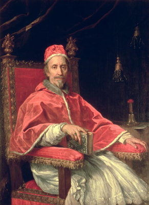 Portrait of Pope Clement IX (1600-69) (oil on canvas) Fine Art Print by Carlo Maratta or Maratti