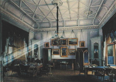 Blue Study of Emperor Alexander II (1818-81) in the Farm Palace, 1860 (w/c on paper) Fine Art Print by Eduard Hau