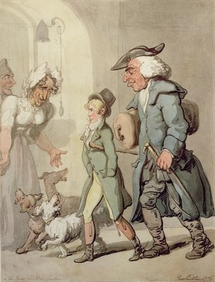 The Bear and Bear Leader - passing the Hotel d'Angleterre, 1776 Fine Art Print by Thomas Rowlandson