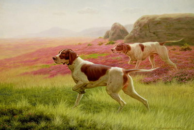 Pointers in a Landscape, 19th century Fine Art Print by Harrington Bird
