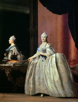 Empress Catherine II before the mirror, 1779 (oil on canvas) Wall Art & Canvas Prints by Vigilius Erichsen