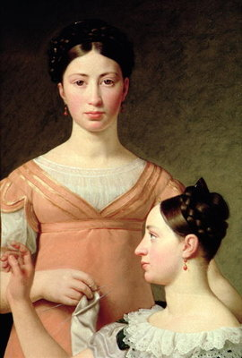 Bella and Hanna Nathansson (oil on canvas) Fine Art Print by Christoffer-Wilhelm Eckersberg