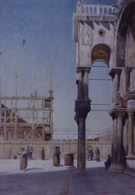 View from the Portico of St. Mark's Venice, Showing the Rebuilding of the Campanile, 1908 Fine Art Print by Reginald Barratt
