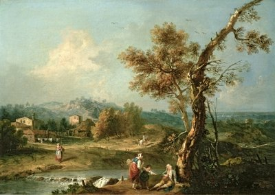 An Italianate River Landscape with Travellers Fine Art Print by Francesco Zuccarelli