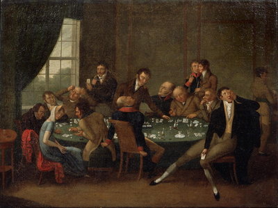 The Gambling House Fine Art Print by Russian School