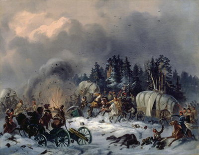 Scene from the Russian-French War in 1812 Fine Art Print by Bogdan Willewalde