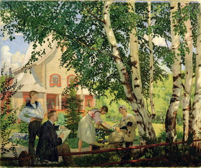 At Home, 1914-18 Fine Art Print by Boris Mikhailovich Kustodiev