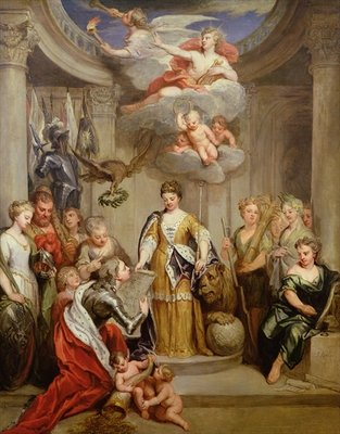 Queen Anne presenting plans of Blenheim to military Merit (oil on canvas) Postcards, Greetings Cards, Art Prints, Canvas, Framed Pictures & Wall Art by Sir Godfrey Kneller