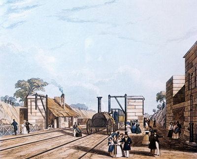 Liverpool and Manchester Railway: Taking water at Parkside, 1831 (aquatint) Postcards, Greetings Cards, Art Prints, Canvas, Framed Pictures, T-shirts & Wall Art by Daniel and Robert Havell