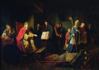 Vladimir Svyatoslavich the Great choosing the religion in 987 (oil on canvas) Fine Art Print by Johann Leberecht Eggink