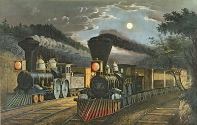 The Lightning Express Trains, 1863 (litho) Postcards, Greetings Cards, Art Prints, Canvas, Framed Pictures & Wall Art by N. and Ives, J.M. Currier