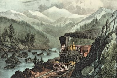 The Route to California. Truckee River, Sierra Nevada. Central Pacific railway, 1871 Fine Art Print by N. Currier