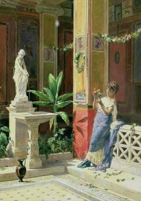 In a Courtyard in Pompeii, 1878 (pencil & w/c on paper) Wall Art & Canvas Prints by Luigi Bazzani