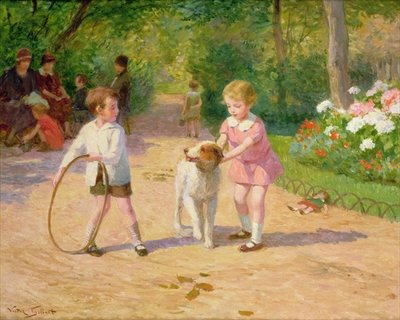 Playing with the hoop Fine Art Print by Victor Gabriel Gilbert