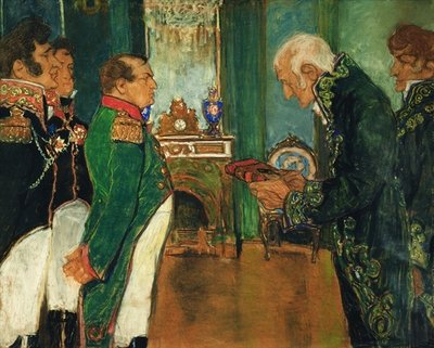 Jean-Baptiste de Lamarck handing the book 'Zoological Philosophy' to Emperor Napoleon Bonaparte, 1920 (pastel on paper) Fine Art Print by Mikhail Dmitrievich Ezuchevsky