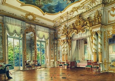 Bedroom of Tsar Alexander I in the Alexander Palace, Tsarskoye Selo, 1855 (w/c & white colour on paper) Wall Art & Canvas Prints by Luigi Premazzi