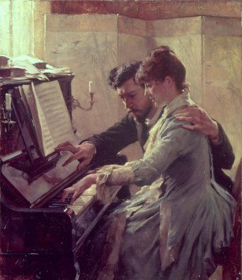 At the Piano Wall Art & Canvas Prints by Albert Gustaf Aristides Edelfelt