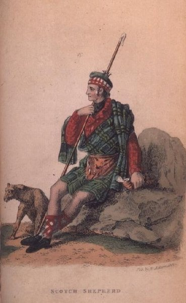 The Scotch Shepherd from Ackermann's 'World in Miniature' (litho) Fine Art Print by Frederic Shoberl