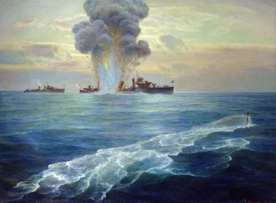 British destroyer Vittoria torpedoed by the Bolshevik submarine Pantera off the island of Seiskari on 1st September 1919, 1939 (oil on canvas) Fine Art Print by Nikolai Evlampievich Bublikov