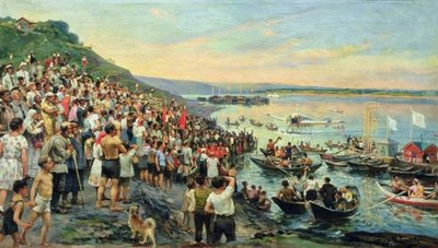 Arrival of a seaplane in Ulyanovsk in 1927, (oil on canvas) Wall Art & Canvas Prints by Ivan Petrovich Guryev