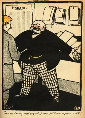 A business man and his client, from 'Crimes and Punishments', special edition of 'L'Assiette au Beurre', 1st March 1902 (colour litho) Wall Art & Canvas Prints by Felix Edouard Vallotton