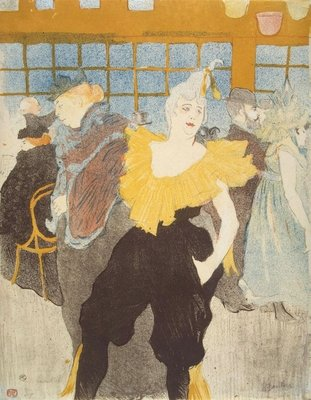 The Clownesse in the Moulin Rouge, 1897 (colour litho) Wall Art & Canvas Prints by Henri de Toulouse-Lautrec