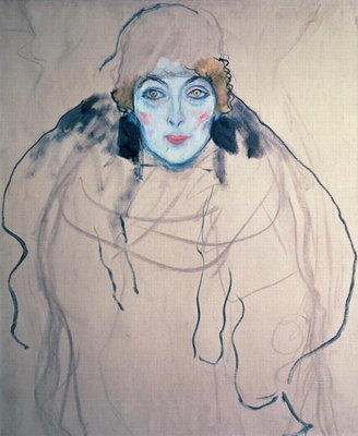 Head of a Woman Poster Art Print by Gustav Klimt