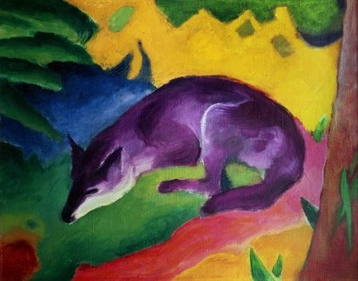 Blue Fox, 1911 (oil on canvas) Wall Art & Canvas Prints by Franz Marc